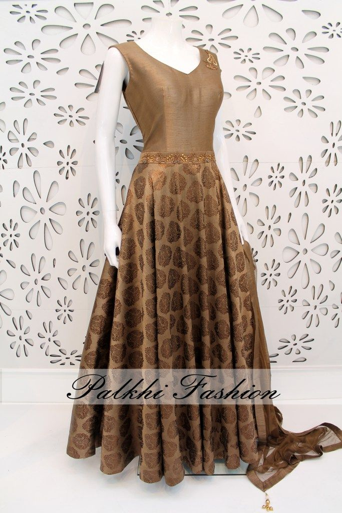 PalkhiFashion Exclusive Full Flair Light Brown Silk Outfit with Elegant Top and Bottom Work.