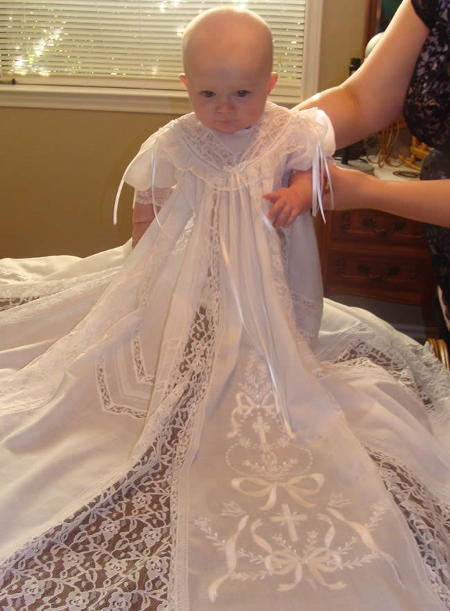 This is Ellasyn on www.delighfullysew.com modeling christening gowns! SO fun!!