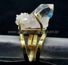 Anel Drusa Cristal Pedra Bruto e Natural Montado Banho Dourado Aro Ajustavel Cod 55.1
