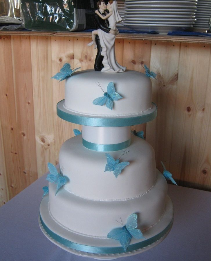 Prices And Recipes For Wedding Cakes | 3 Tier Butterfly Wedding Cake With Bride And Groom Cake Toppers