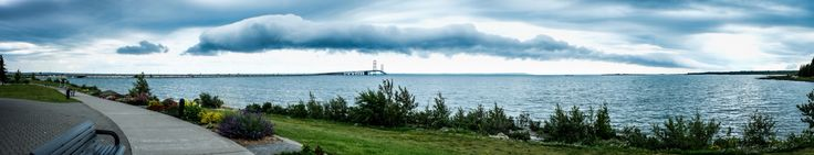 Panoramic of the Mackinac Bridge with a shelf cloud going over it. Upper peninsula 2015 shot by Don Ashcraft on his Fuji digital camera.