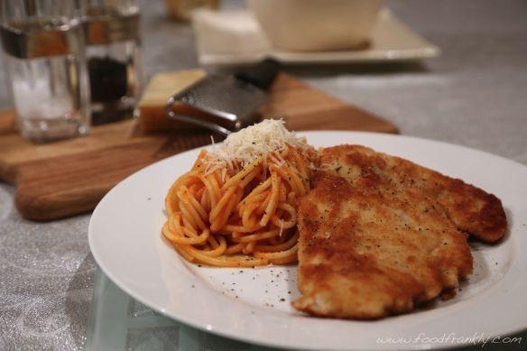 Chicken Milanese and Spaghetti Pomodoro