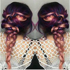 Plum & rose gold hair