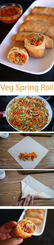 """Make these easy and wonderful """"Veg Spring Rolls"""". They are perfectly crispy on the outside and juicy, delicious in the inside. You will never have to buy the unhealthy ones from take outs."""