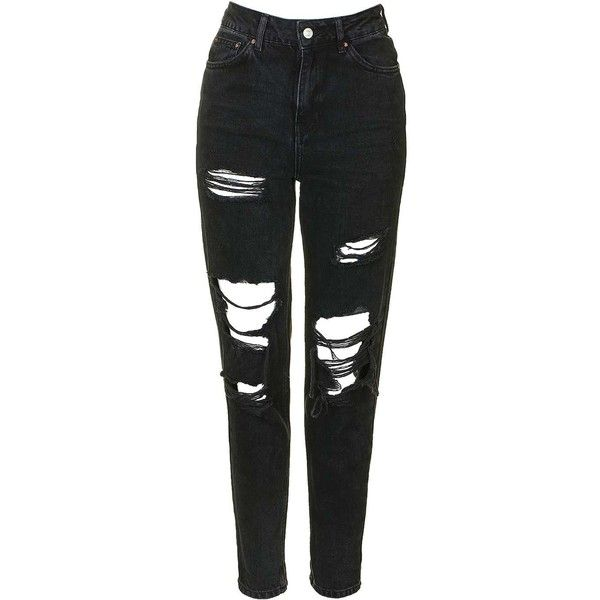 Topshop Moto Washed Black Super Rip Mom Jeans (€25) ❤ liked on Polyvore featuring jeans, washed black, high waisted ripped skinny jeans, distressed jeans, destructed skinny jeans, ripped skinny jeans and high-waisted skinny jeans