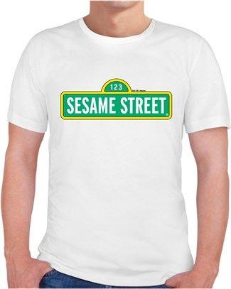 susam sokağı - logo - Kendin Tasarla - Erkek Bisiklet Yaka Tişört