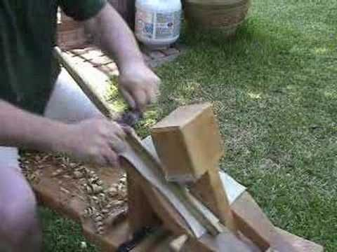"""Making an Atlatl Part I, And there's a pre-industrial work bench, the shaving horse. There is something compelling about """"early"""" tools, self-sufficiency, personal design, adaptation, survival, natural living."""