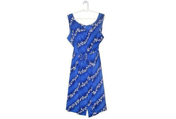 Plus Size Blue Floral Dress Womens Vintage Button Up Clothing