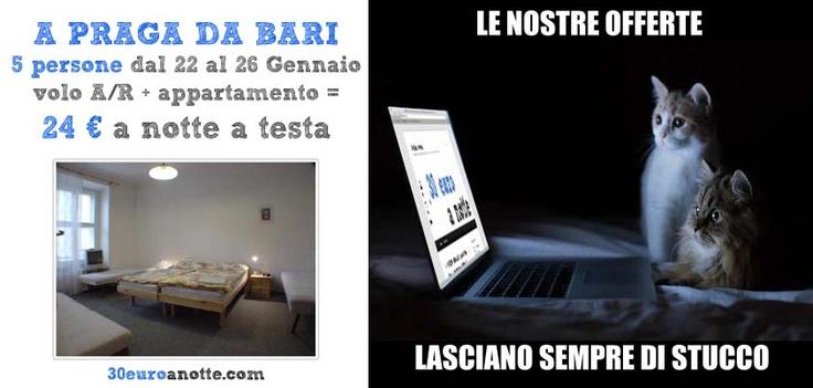 5 PERSONE A PRAGA, dal 22 al 26 Gennaio, volo A/R da Bari + appartamento: 24 € a notte a testa!