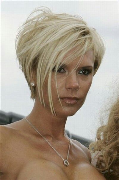 "Love the edginess [ ""Victoria Beckham Hair Styles Over the Years"", ""Women have 150 different hairstyles in their lifetime: Typical female will hit the salon to get over a break-up or copy their favourite celebrity"", ""victoria beckham short hair back - Yahoo Image Search Results"", ""One of a Kind Short bob hairstyles for women - rkomedia"", ""Victoria Beckham in Victoria Aug PM awesome! i"
