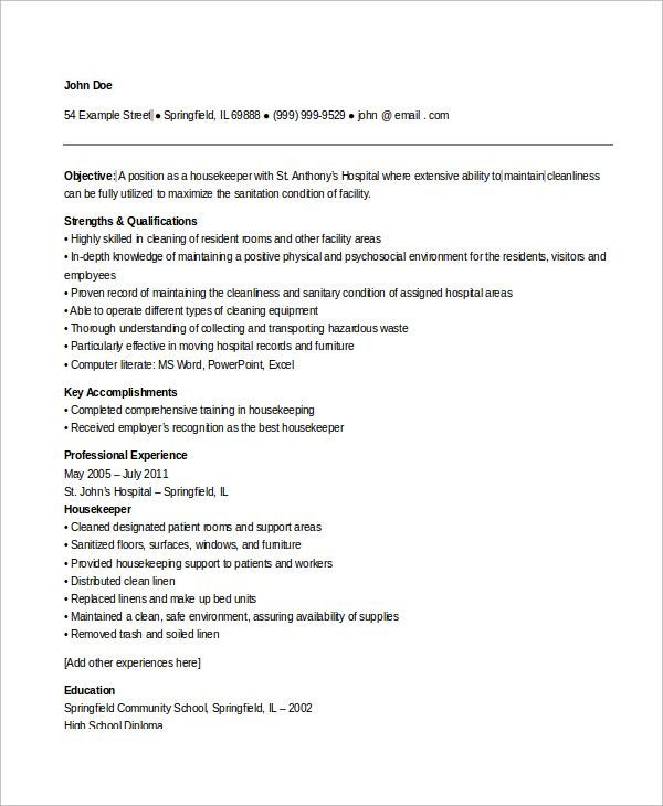 sample housekeeping resume examples word pdf excellent managerial ability for