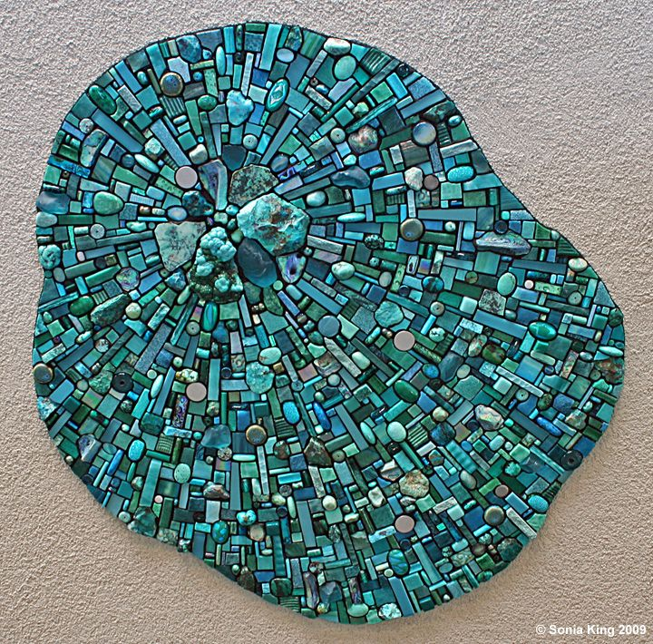 Nebula Aqua mosaic installation by Sonia King Mosaic Artist