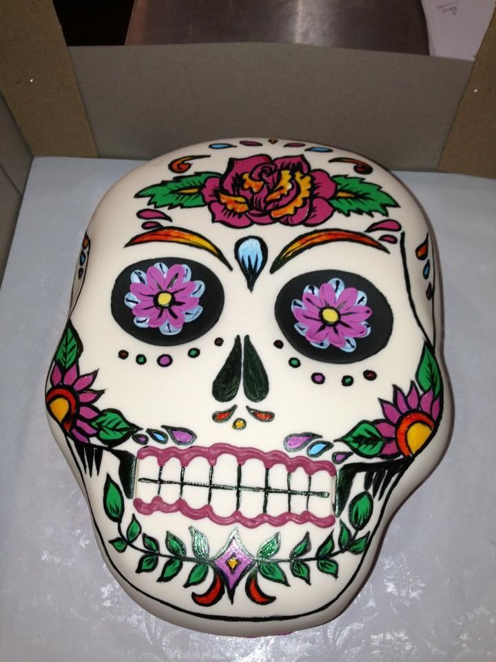 outrages cakes | Hand painted sugar skull fondant cake | Outrageous Cakes