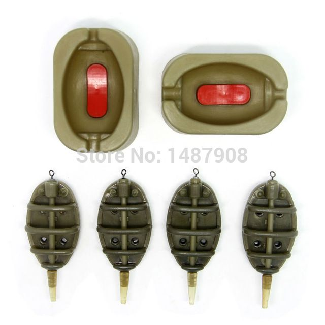 SAMS FISHING Inline Method Feeder and Quick Release Mould set  Carp Terminal Tackle - 4 Feeders and 2 Method Moulds