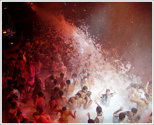 Foam party in Amnesia, the second biggest club in the world on Ibiza, an island off the coast of Spain. Divertido.