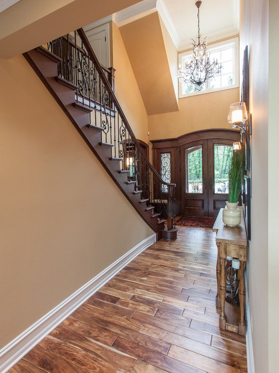 Flooring, Appealing Traditional Entry With Marvelous Asian Walnut Flooring Also Light Brown Wall Colors & Elegant Double Door Design Also El...