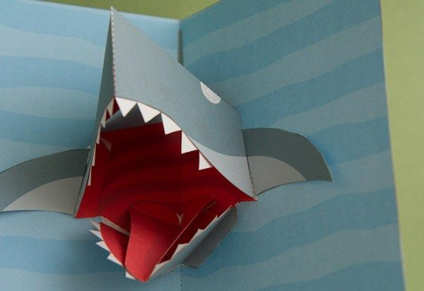 Shark Attack A Pop Up Shark Card For You To Download And Make Members Can Download The Parts From The Link For Free Thank Pop Up Card Templates Shark Pop Up