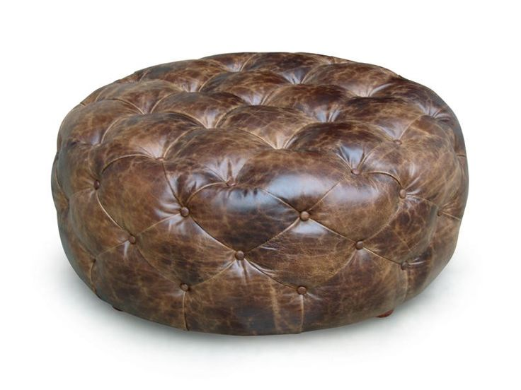 Round leather, tufted ottoman