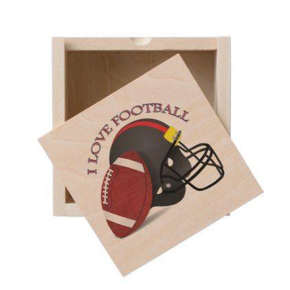 I love modern elegant trendy football wooden keepsake box - elegant gifts gift ideas custom presents