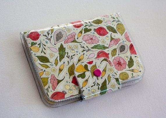 Passport Case - Tea Garden / Dear Sukie, travel, passport, case, vinyl, woman's, wallet, snap, paper, flowers, floral, blue, pearl