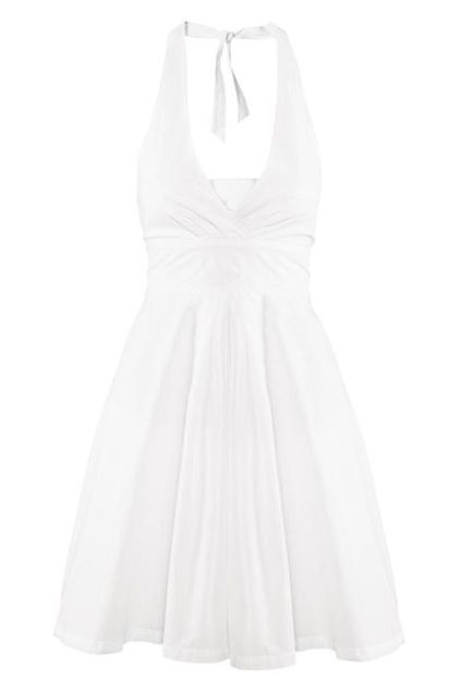 ROMWE | Lace-up Elastic Pleated Halter White Dress, The Latest Street Fashion #RomwePartyDress