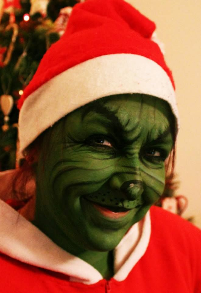 The grinch christmas fancy dress face paint