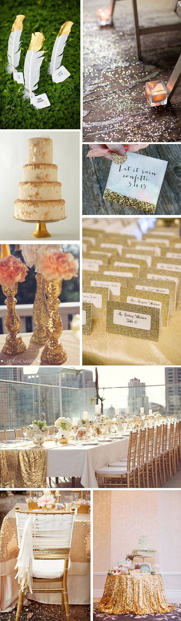 Glitter, glitter and more glitter! We can never get enough of it. From lining your aisle in glitter instead of petals, to a glitter-clad cake and escort cards dipped and dripping in the goodness, we highly recommend a little gold glitter on your wedding day!