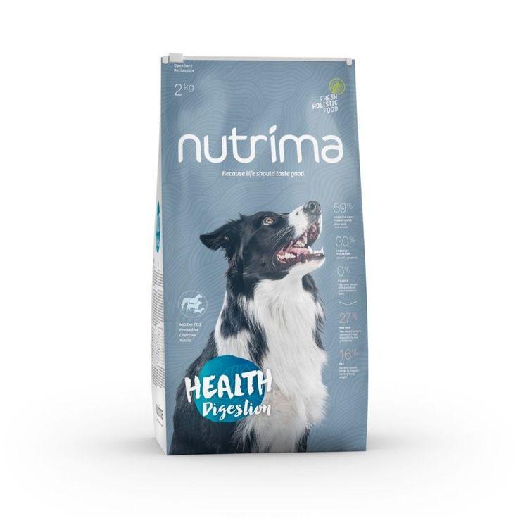 Nutrima Health Digestion -koiranruoka herkkävatsaisille ja yleisistä allergioista kärsiville koirille.