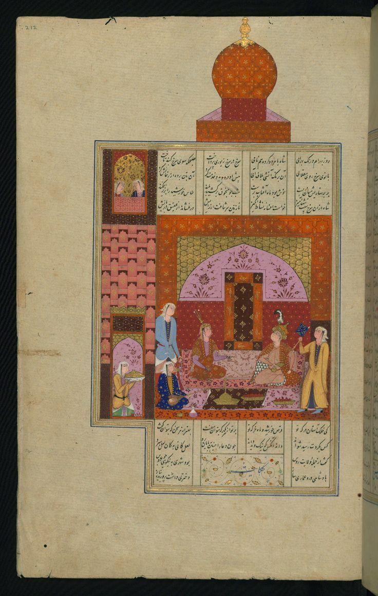 Bahrām Gūr in the red pavilion - Haft paykar