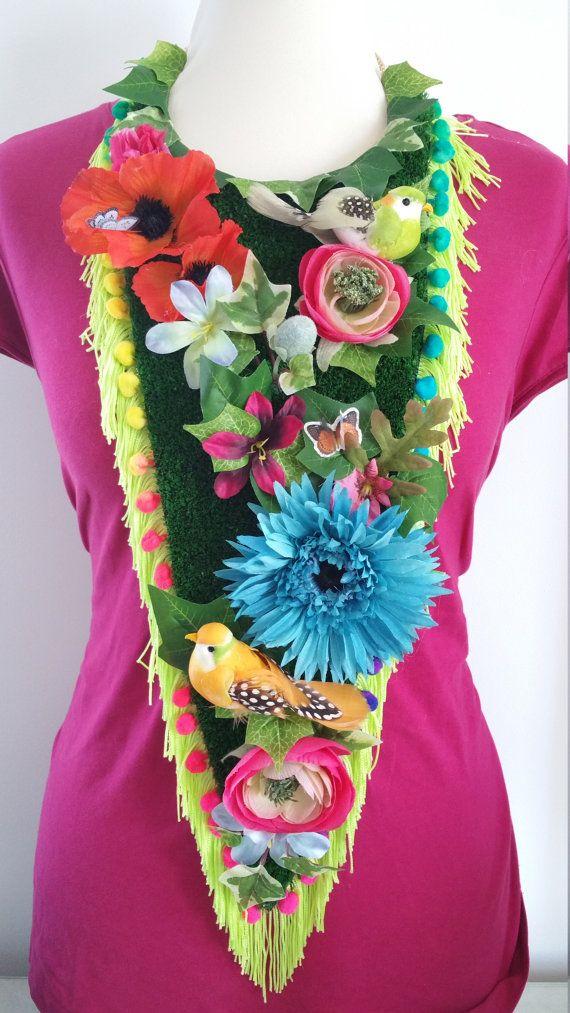 HUGE Floral Grass Neon Rainbow Statement Bib Necklace