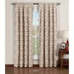Window Elements Semi-Opaque Valencia Printed Cotton Extra Wide 84 in. L Rod Pocket Curtain Panel Pair, Taupe (Brown) (Set of 2)
