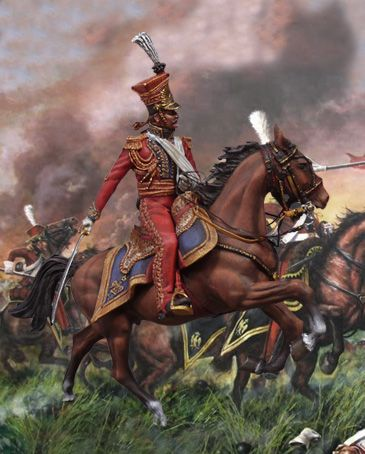 Colonel Colbert of the Red Lancers leads the attack against British squares at Waterloo.Miniaturas militares pintadas a mano