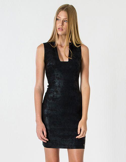 Leatherette look dress