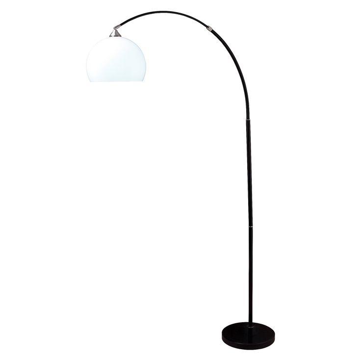modern black arc floor lamp on black marble base