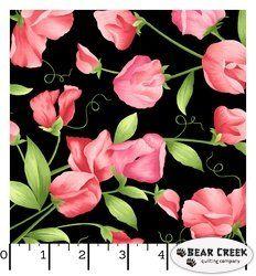 Maywood Studio Sweet Pea Flannel Floral Black