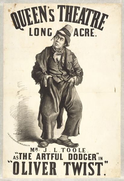 This poster advertised a version of Charles Dickens Oliver Twist dramatised by John Oxenford with music by Mr. Wallerstein at the Queens Theatre, Long Acre, in April 1868. As well as J.L.Toole (1830-1906) as the Artful Dodger, the cast included Tooles lifelong friend Henry Irving as Bill Sikes and Nellie Moore as Nancy. Posters with lithographic images were produced more frequently in the 1860s because of advances in printing technology and were a significant improvement on the earlier…