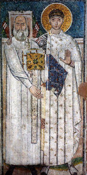 Basilica di San Demetrio, Tessalonica, Grecia. Il mosaico del VII secolo. San Demetrio che cinge con un braccio le spalle del diacono che sovrintese alla ricostruzione della chiesa.