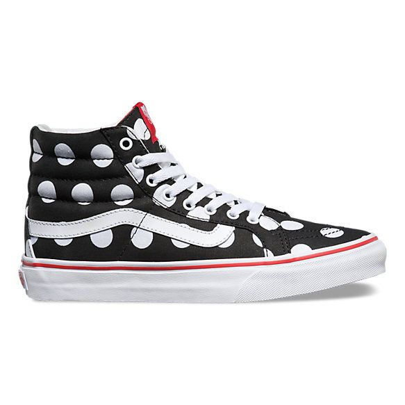 The Polka Dot Sk8-Hi Slim, a slimmed down version of the legendary Vans lace-up high top, features sturdy canvas uppers with an allover polka dot print, padded collars for support and flexibility, and signature rubber waffle outsoles.