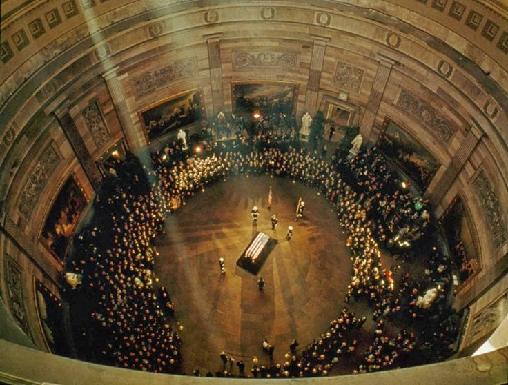 John F. Kennedy's funeral in the capitol building, 1963.@historyinpix