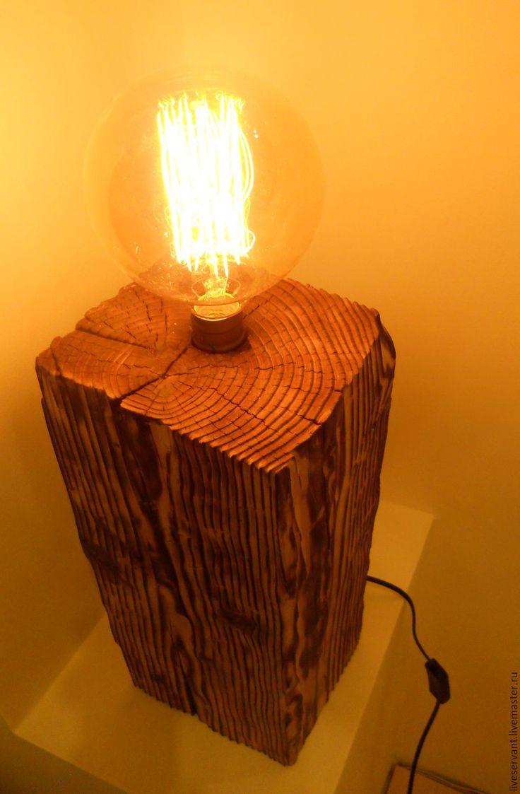 """Купить Светильник """"винтаж"""" из дерева - коричневый, винтажный стиль, лампа эдисона, светильник ручной работы"""