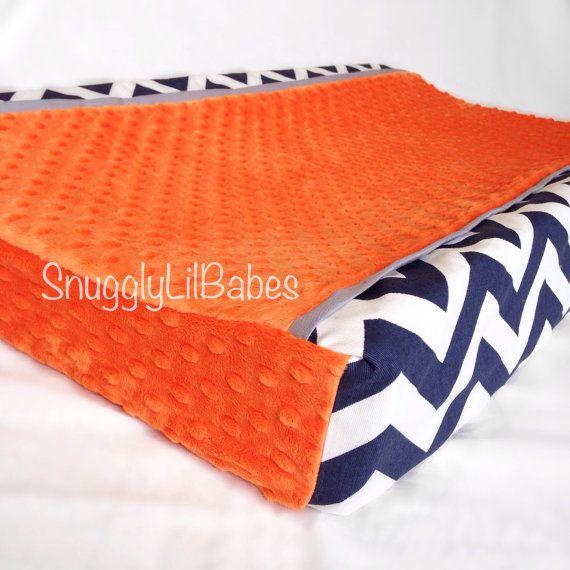 Baby blanket navy chevron orange trim and grey by SnugglyLilBabes