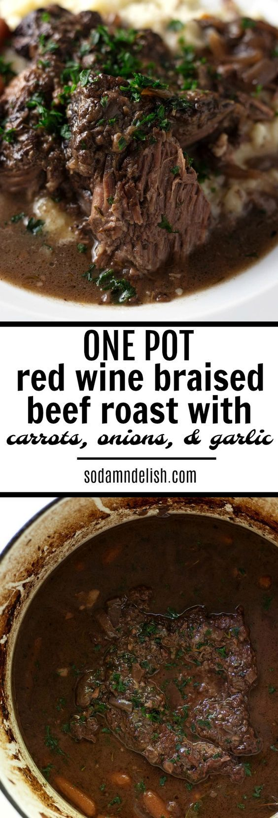 This red wine braised beef roast is an easy one-pot meal that is downright comfort food. One pot + beef roast + carrots + onions + garlic = food for the soul.