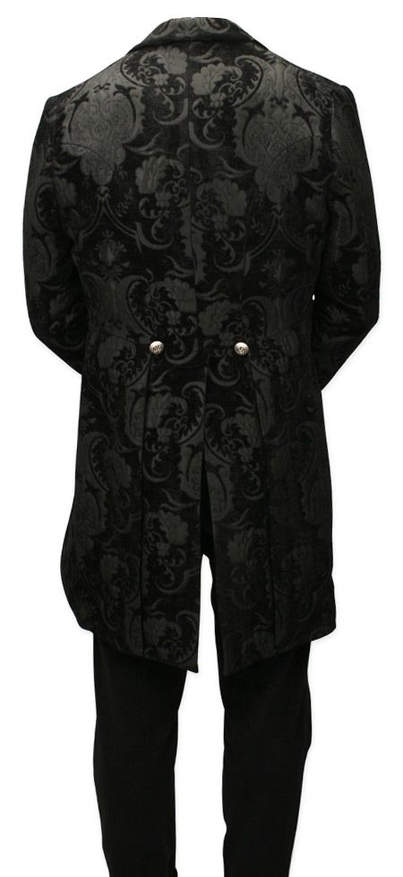 Velvet Trimmed Regency Tailcoat - Black Tapestry (Limited Availability) [003013]