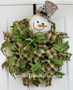 Christmas Burlap Wreath, Burlap Snowman Wreath, Snowman Wreath, Christmas Wreath, Front Door Wreath by WruffleWreathsbyLana on Etsy