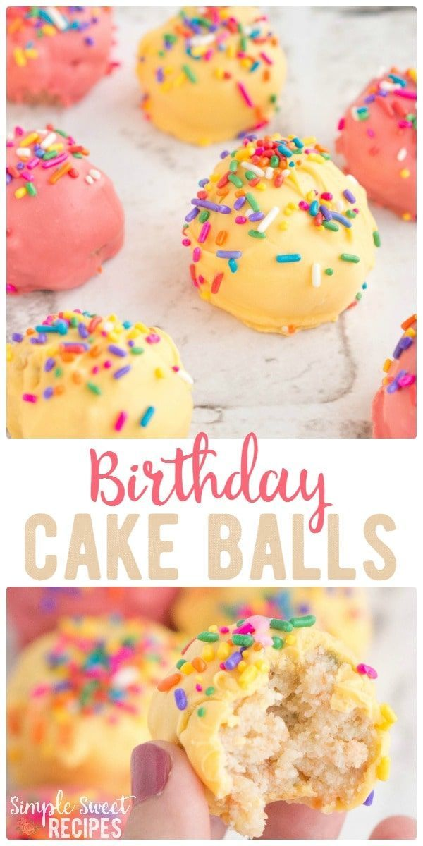 Confetti cake and sprinkles combine for these moist, delicious Sprinkle Birthday Cake Balls. A traditional birthday cake made easier to serve - grab a bite and go! Add candles for a miniature birthday cake! via @simplesweetrecipes