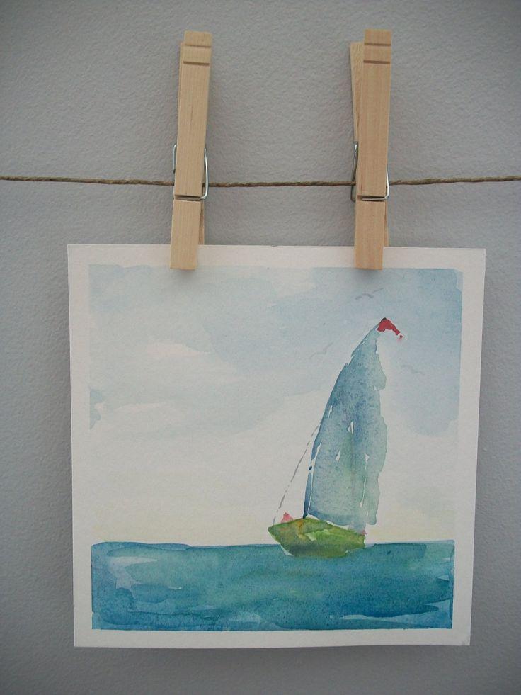 CLEARANCE Rough Seas Framed Original Watercolor Painting Sailboats Abstract Watercolor