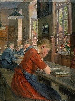 In an Orphanage, Lübeck, detail (1894). Gotthard Kuehl (1850-1915). Kuehl was representative of the early German Impressionism. Kuehl painted especially fine interiors, many of a social nature (Lübeck orphanage).