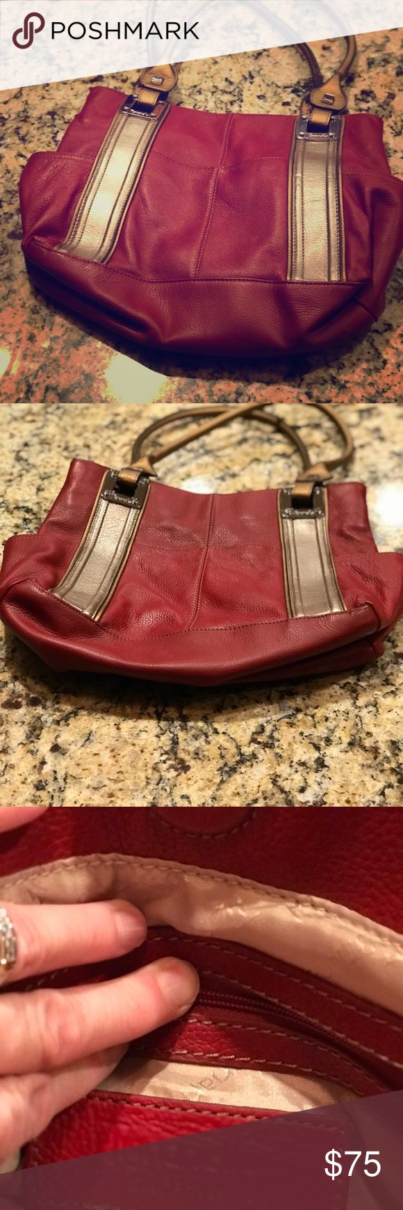Tignanello Handbag Red leather handbag with silver and brass colored trim. Like new. I used it less than 5 times. Tignanello Bags Satchels