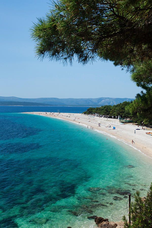 Zlatni Rat Beach With Hvar Island Crotia