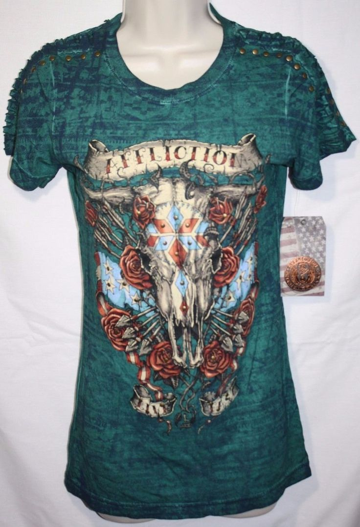 """Affliction T-Shirt Women's Size Small. Awesome Cow Skull Graphic. Color: Aqua Green. Short Sleeves. Length (shoulder to hem): 26 1/2"""". Sleeve Length: 6"""". Chest (underarm to underarm): 15 1/2"""".   eBay!"""